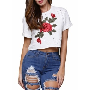White Embroidered Flower Broken Hole Crop Top Black Gray