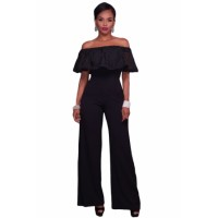 White Embroidery Ruffle Top Off Shoulder Jumpsuit Black