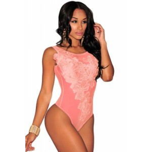 White Floral Embroidered Sheer Mesh Bodysuit Black Blue Pink