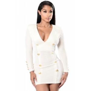 White Gold Sailor Button Detail Long Sleeve Velvet Dress