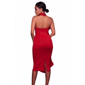 White Halter High Neck Ruffled Midi Party Dress with Back Slit Green Black Red
