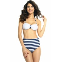 White Halter Top Pin up High-waisted Bikini Swimwear