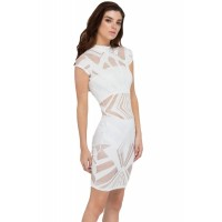 White Hit or Mesh Net Insert Bodycon Dress