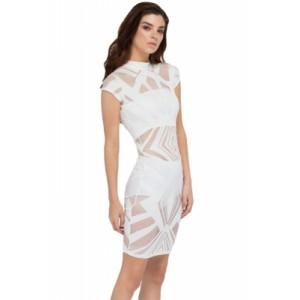 White Hit or Mesh Net Insert Bodycon Dress