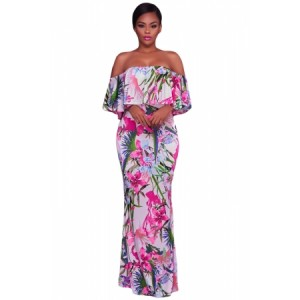 White Pink Floral Print Off Shoulder Maxi Boho Dress Red Yellow