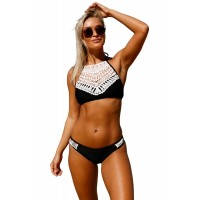 White Wine Crochet Detail Tankini Black