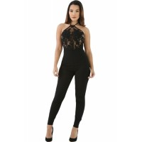 Sheer Lace Top Halter Party jumpsuit black white