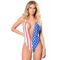American Flag Print Daring Plunge Bodysuit