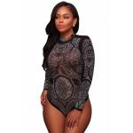 Apricot Mesh Rhinestone Embellished Bodysuit Black