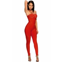 Black Chain Strap Bandage Jumpsuit Red