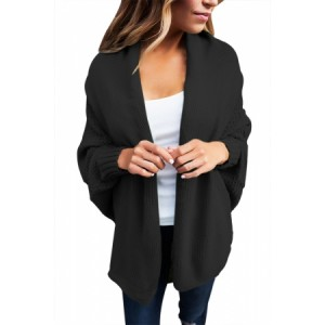 Black Chunky Knit Open Front Dolman Cardigan Gray Red