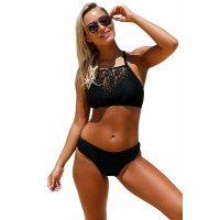 Black Crop Lace Overlay Bikini Set