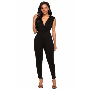 Black Deep V Neck Sleeveless Jumpsuit Gray