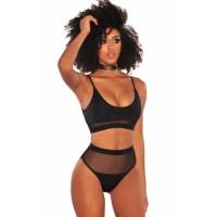 Black Fishnet High Waist Bikini