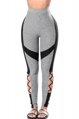 Black Gray Leg Cut out Yoga Sport Leggings