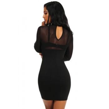 Black Grommet Crisscross Detail Sheer Long Sleeve Dress