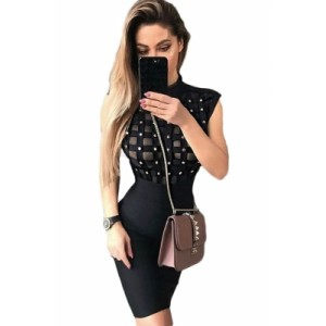 Black High Neck Sleeveless Beaded See-through Bandage Dress