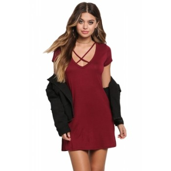 Black Jersey Knit Cross Strap Tunic Top Short Dress Burgundy