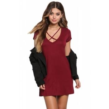Black Jersey Knit Cross Strap Tunic Top Short Dress Burgundy