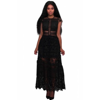 Black Lace Hollow Out Long Party Dress White
