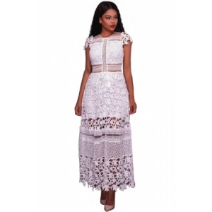 Black Lace Hollow Out Long Party Dress White