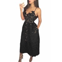 Black Lace Hollow Out Nude Illusion Party Dress Blue Red White