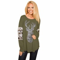Black Loose Sequin Christmas Reindeer Top Red Green Gray