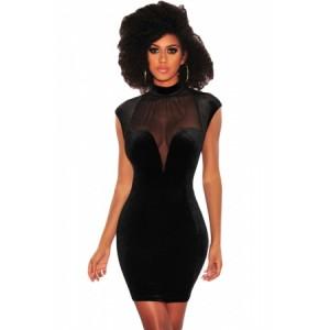 Black Mesh Bustier Velvet Mock Neck Dress Wine