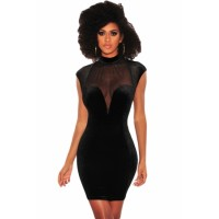 Black Mesh Bustier Velvet Mock Neck Dress Wine