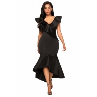 Black Ruffled Mermaid Maxi Party Dress Red