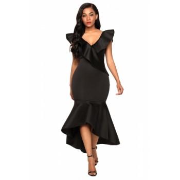 Black Ruffled Mermaid Maxi Party Dress Red