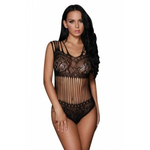 Black Seamless Floral Lace Teddy Lingerie