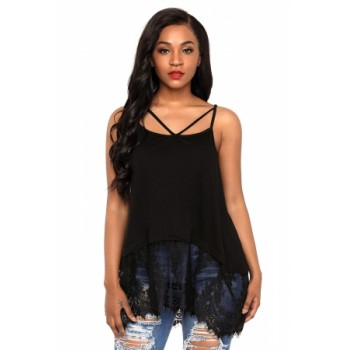 Black Sheer Lace Hem Strappy Tank Top Grey