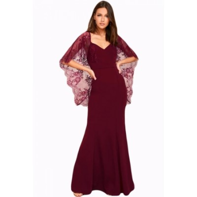 Black V Cut Open Back Lace Cape Sleeve Maxi Evening Dress Red