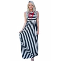 Black White Stripes Sleeveless Maxi Dress