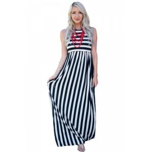 Black White Stripes Sleeveless Maxi Dress