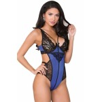 Blue and Black Lace Teddy