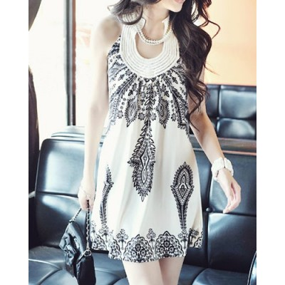 Bohemian Round Neck Sleeveless Printed Color Block Dress For Women white black