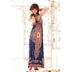 Bohemian Sexy Plunging Neck Sleeveless Tiny Floral Print Maxi Dress For Women blue
