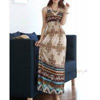 Bohemian V-Neck Printed Ankle-Length Spaghetti Strap Women's Dress