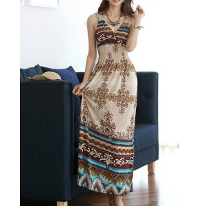Bohemian V-Neck Printed Ankle-Length Spaghetti Strap Women's Dress