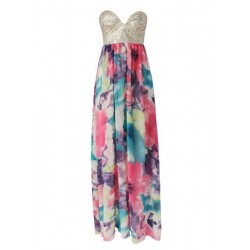 Bohemian Women's Strapless Sequined Floral Print Dress