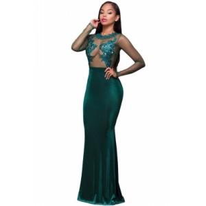 Burgundy Long Sleeve Lace Mesh Mermaid Party Dress Green