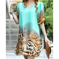 Casual Scoop Neck 1/2 Sleeve Loose-Fitting Chiffon Dress For Women green