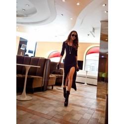Casual Scoop Neck Long Sleeve Solid Color Asymmetrical Hem Dress For Women black gray
