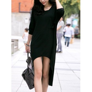 Casual Women's Scoop Neck Long Sleeve Solid Color Asymmetric Dress black
