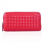 Concise Women's Clutch Wallet With Zip and Weaving Design red black white
