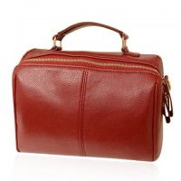 Concise Women's Shoulder Bag With Zip and PU Leather Design red black