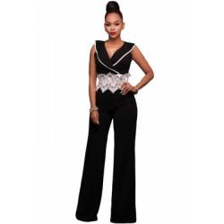Contrast Lace Waist Insert Black Wide Leg Jumpsuit White