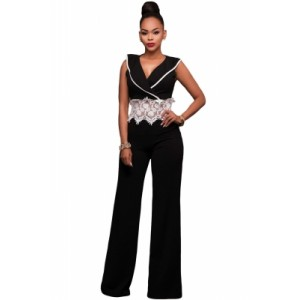 Contrast Lace Waist Insert Black Wide Leg Jumpsuit White